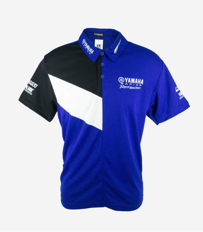 Yamaha Racing Collar Black Blue Polo Tee