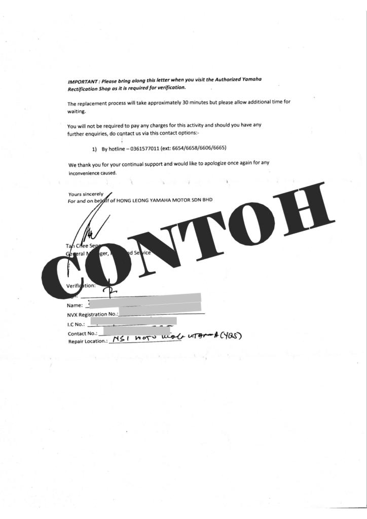 Surat Recall NVX 2